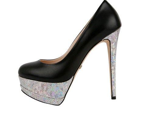 75ef0626a Sapato alto Preto com Brilho de Prata - Tudo de moda