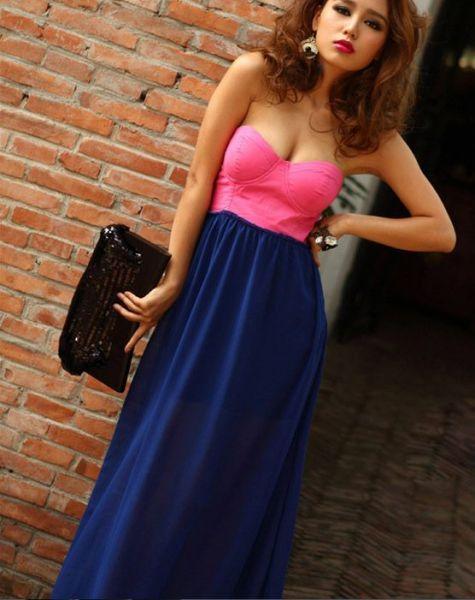 Vestido rosa con azul